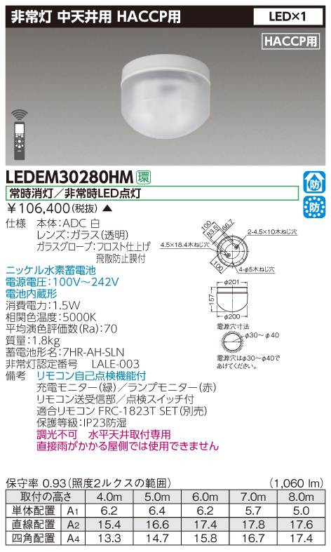 東芝 LEDEM30280HM (LEDEM30280HM) 直付HACCP中天LED非常灯専用形 LED非常用照明器具 (専用) ご注文後手配商品
