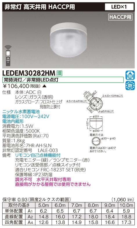 東芝 LEDEM30282HM (LEDEM30282HM) 直付HACCP高天LED非常灯専用形 LED非常用照明器具 (専用) ご注文後手配商品