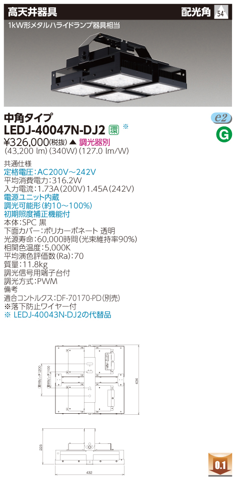 LED 東芝ライテック(TOSHIBA)LEDJ-40047N-DJ2 『LEDJ40047NDJ2』 LED高天井器具 1kWメタルハライドランプ器具相当 中角タイプ 落下防止ワイヤー付 昼白色