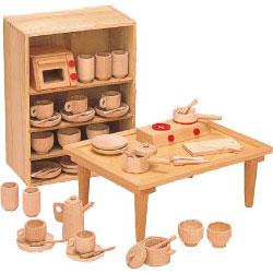 河合楽器製作所 8011 抗菌ままごとあそびテーブルセット (くみあわせてあそぶ) 木の玩具
