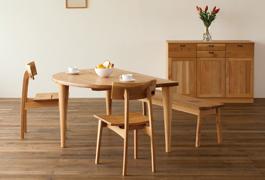 飛騨産業 森のことばシリーズ 半円形テーブル SN390WP キツツキマーク