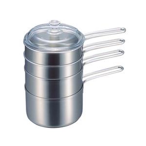 【アウトレット】石黒智子のシンプルな台所道具 重ね鍋5点セット DY-0031【未使用品、箱の傷みあり】