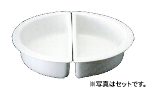 JW-400×2 チューフィング 皿 陶器 1/2 Lサイズ 2分割 1セット SMART