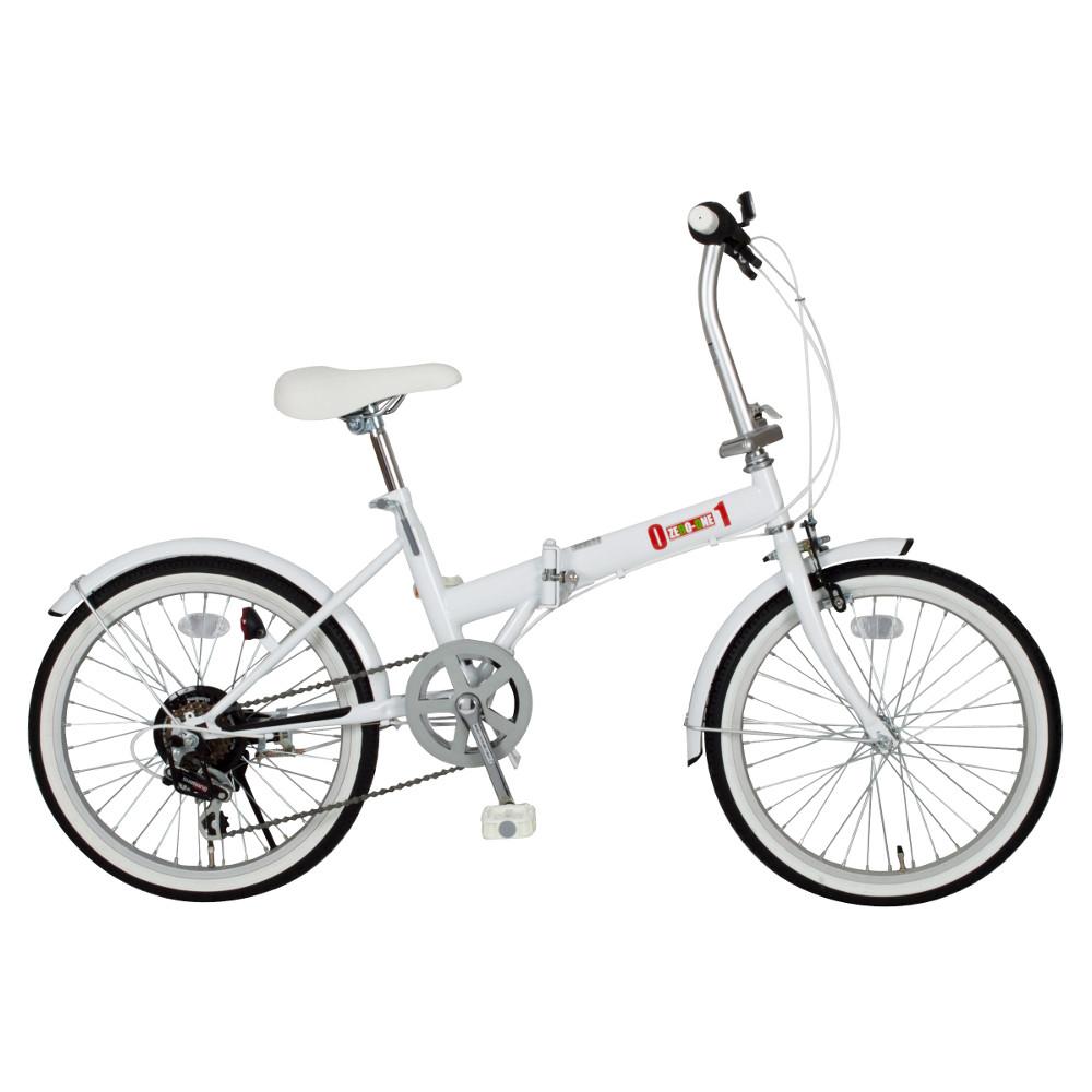 『メーカー在庫限り』ミムゴ MG-ZRE206-WH ホワイト 20インチ折り畳み自転車 ZERO-ONE(ゼロワン) FDB20 6S『代引き・時間指定不可』