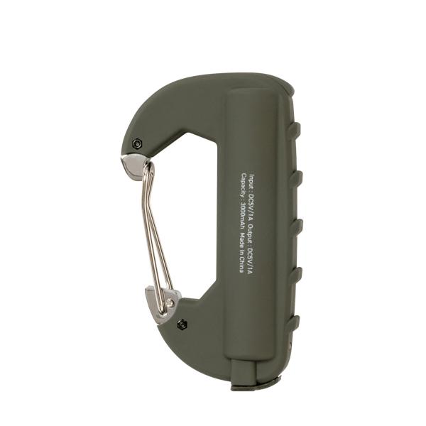 限定特価 モバイルバッテリー カラビナ型 フック付き OLIVE オリーブ 3000mAh CARABINER BATTERY 防災 SINGLE AMPERSAND アンパサンド スマホ 充電 売り出し アウトドア CRB-005