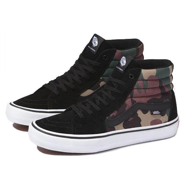 【バンズ】 バンズ スケート ハイ プロ [サイズ:26.5cm(US8.5)] [カラー:(カモ)ブラック×ホワイト] #VN000VHGAT4 【靴:メンズ靴:スニーカー】【VN000VHGAT4】【VANS VANS SK8-HI PRO (Camo)Black/White】