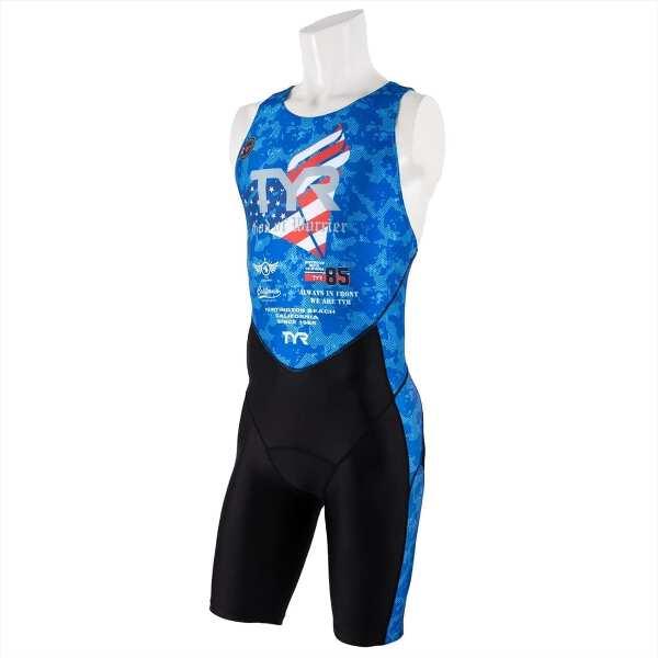 【ティア】 メンズ トライアスロンスーツ バックジッパ― [サイズ:L] [カラー:ブルー] #SMST1-19S 【スポーツ・アウトドア:トライアスロン】【TYR TRI-SUIT FOR SHORT COMP MENS/BACK ZIPPER】
