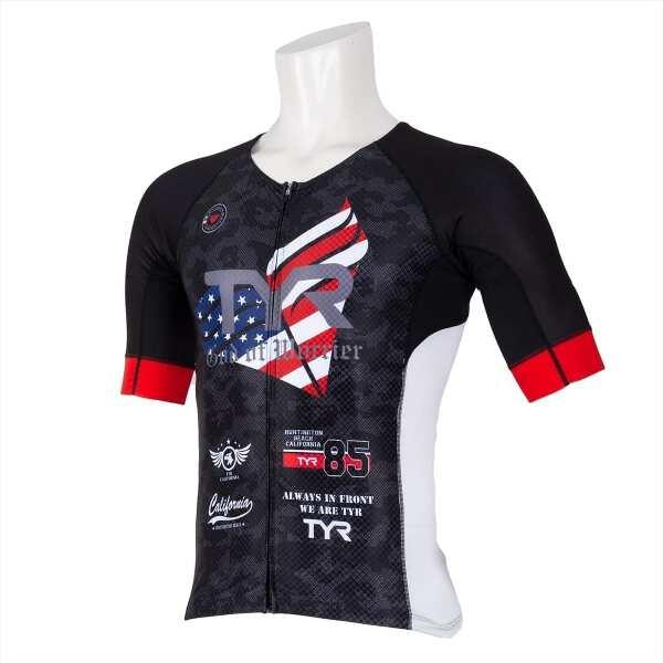 【ティア】 メンズ 半袖トライシングレット フロントジップ [サイズ:M] [カラー:ブラック] #TMSG1-19S 【スポーツ・アウトドア:トライアスロン】【TYR SHORT SLEEVE TRI-SINGLET MENS/FRONT ZIPPER】