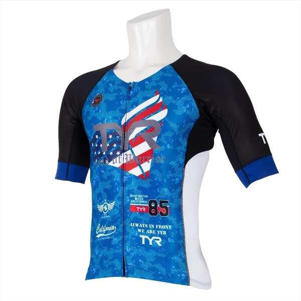 【ティア】 メンズ 半袖トライシングレット フロントジップ [サイズ:M] [カラー:ブルー] #TMSG1-19S 【スポーツ・アウトドア:トライアスロン】【TYR SHORT SLEEVE TRI-SINGLET MENS/FRONT ZIPPER】