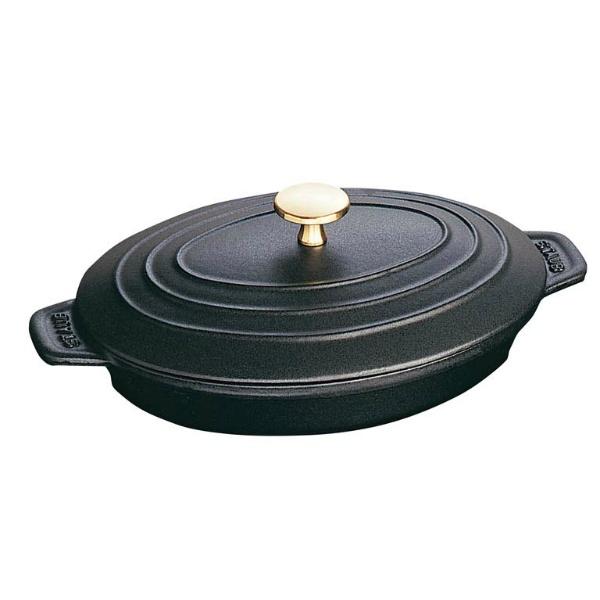【ストウブ】 ストウブ オーバルホットプレート 23cm 黒 40509-582 【キッチン用品:調理用具・器具:両手鍋】【ストウブ ホットプレート】【STAUB】