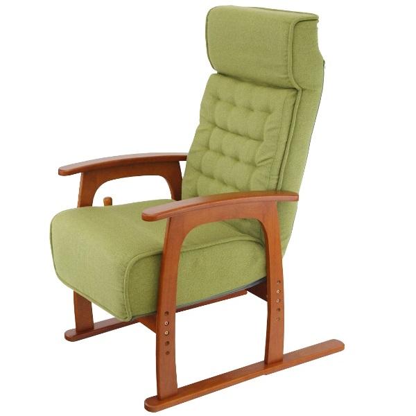 ヤマソロ コイルバネ高座椅子【若葉】 83-806 グリーン(代引対象外)