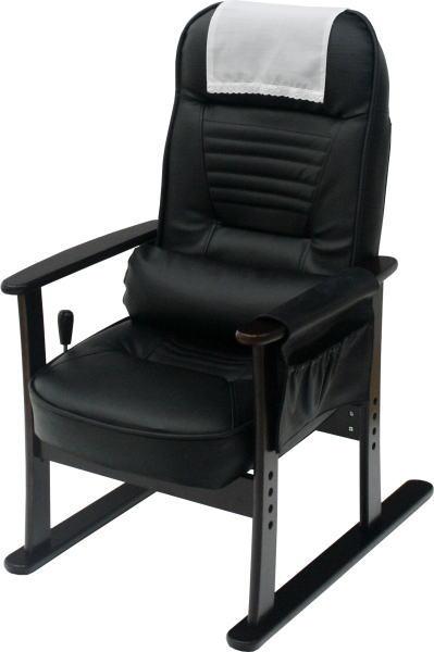 ヤマソロ 肘付き高座椅子 安定型 83-885 ブラックレザー (代引対象外)