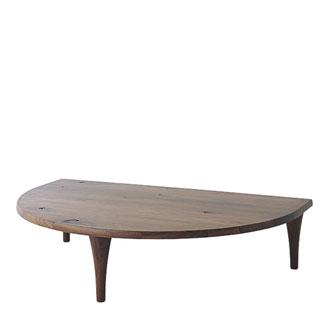 飛騨産業 森のことばWalnutシリーズ 半円形リビングテーブル SW105RT キツツキマーク 【代引対象外】
