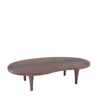 飛騨産業 森のことばWalnutシリーズ ビーンズ型リビングテーブル(ハイタイプ) SW118H キツツキマーク 【代引対象外】
