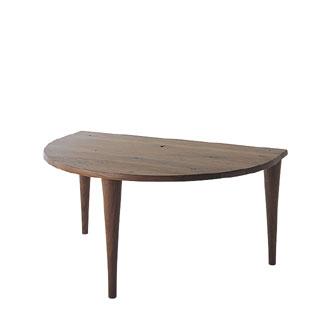 飛騨産業 森のことばWalnutシリーズ 半円形テーブル SW390WP キツツキマーク 【代引対象外】