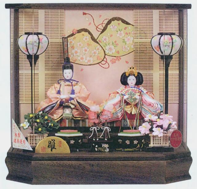 人形の吉月 ひな人形 アクリル六角ケース入 D-38 芥子二人