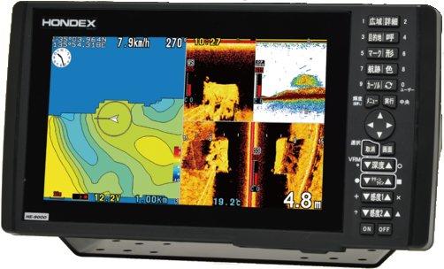 ホンデックス (HONDEX) プロッター魚探 HE-9000 TDレス仕様(振動子が付属しません) 9型ワイド液晶搭載 バスフィッシングモデル 偏光サングラス対応