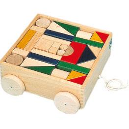 河合楽器製作所 4620 抗菌カラー引き車つみき (くみあわせてあそぶ) 木の玩具