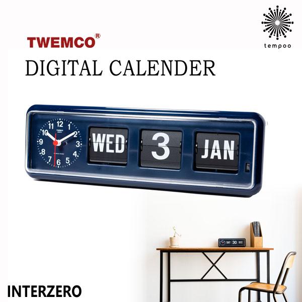 【送料無料】INTERZERO インターゼロ TWEMCO DIGITAL CALENDER BQ-38NV オートマチック 置き時計 クロック 掛け時計 ステップムーブメント ミッドセンチュリー カレンダークロック パタパタ リビング ダイニング スタイリッシュ インテリア おしゃれ 雑貨 tempoo