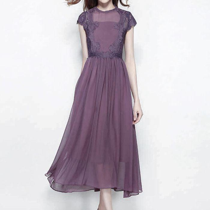 ワンピース ロング レース 切り替え 袖あり 上品 清楚 フレア エレガント 結婚式 二次会 20代 30代 40代 紫パープル S/M/L/XL
