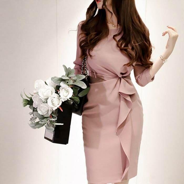 韓国 個性的 パーティードレス パーティ ミディアム ワンピース 膝丈 ミモレ丈 袖あり フリル サイドツイスト いよいよ人気ブランド タイト 30代 大人 エレガント S 上品 ピンク XL 大人女子 休み セクシー 20代 L M