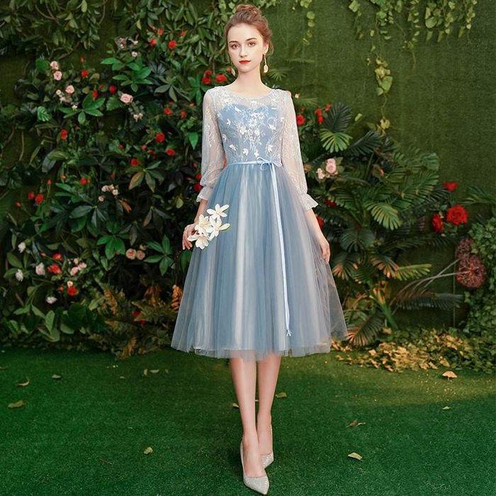 ドレス ワンピース チュール シフォン フェアリー ミモレ丈 結婚式 二次会 袖あり 長袖 小さいサイズ 20代 30代 青ブルー 水色 XS/S/M/L/XL