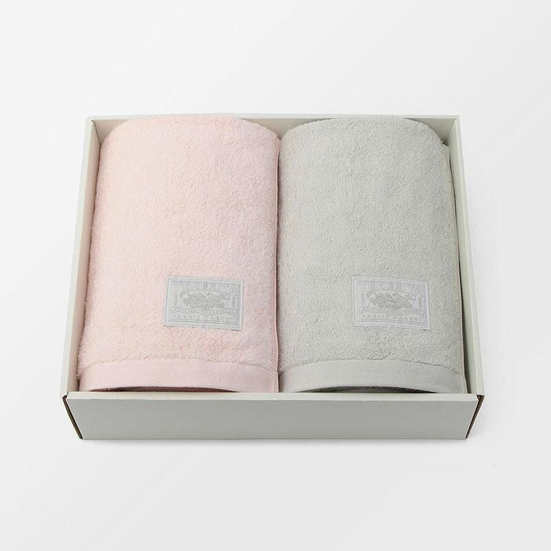 超甘撚りエクストラリッチバスタオル2枚セット(ピンク・ライトグレー)  テネリータ TENERITA