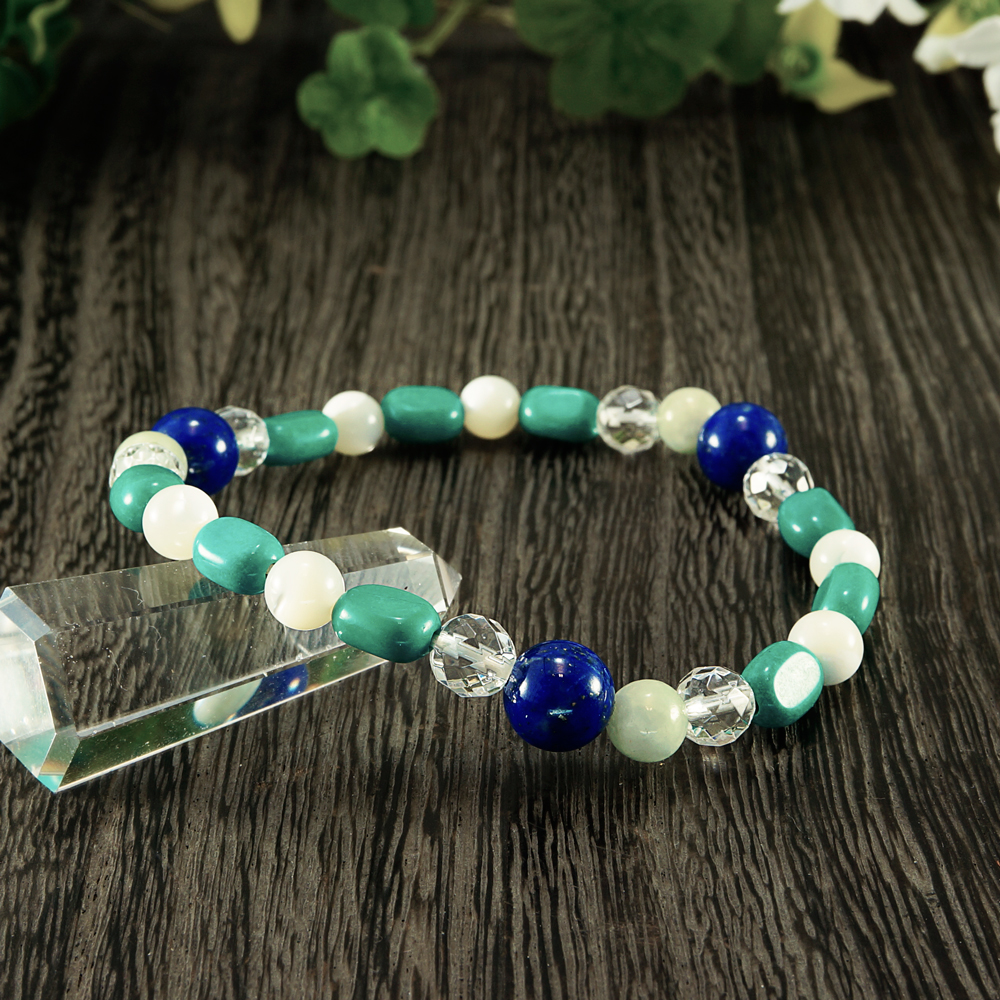 Lapis lazuli X jade X how light Turkish X mother of pearl X crystal bracelet