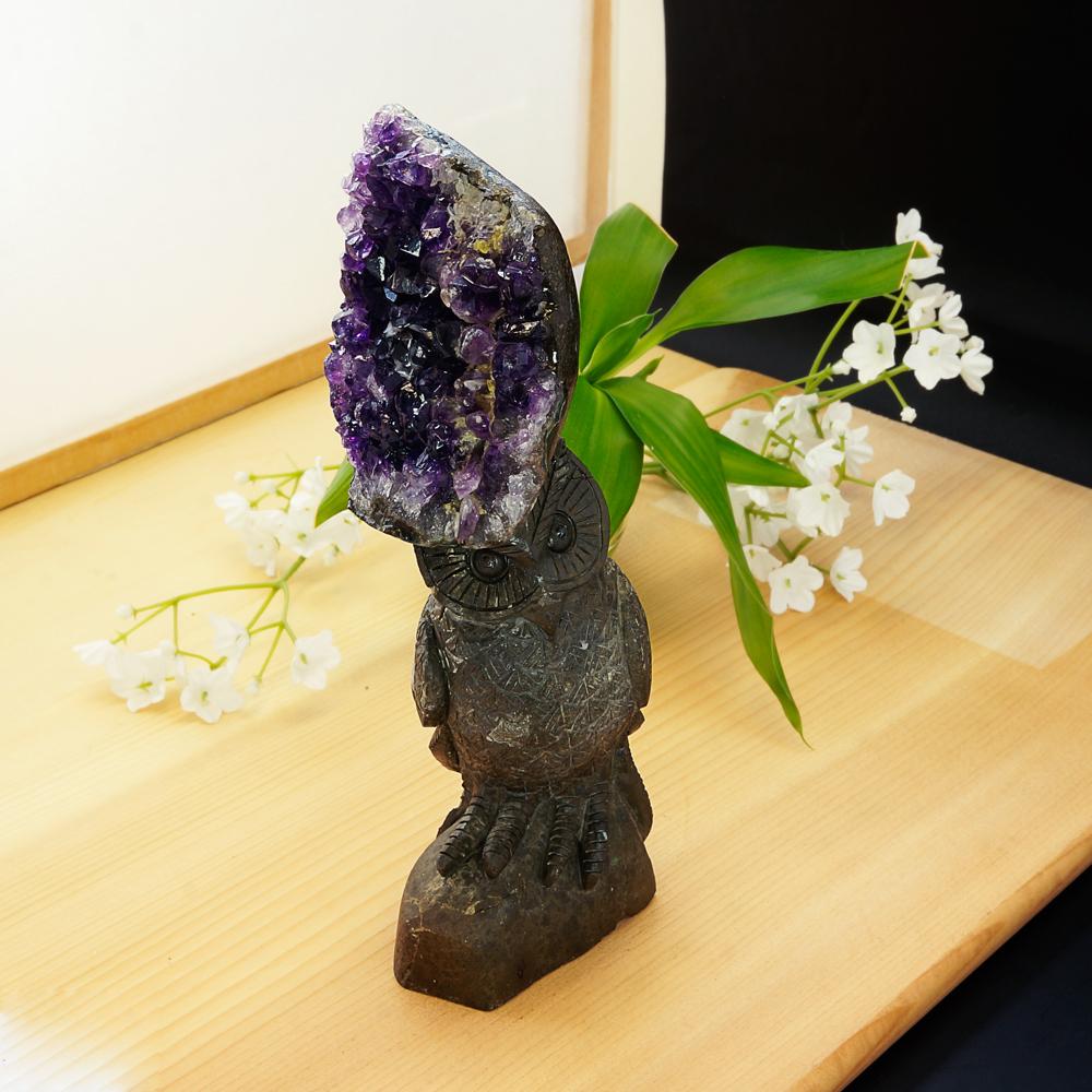 激レア! アメジストと熔岩石のコラボ 手彫り 彫刻 フクロウ 620g 天然石 パワーストーン インテリア 置物 雑貨 おしゃれ パープルカラー グレーカラー
