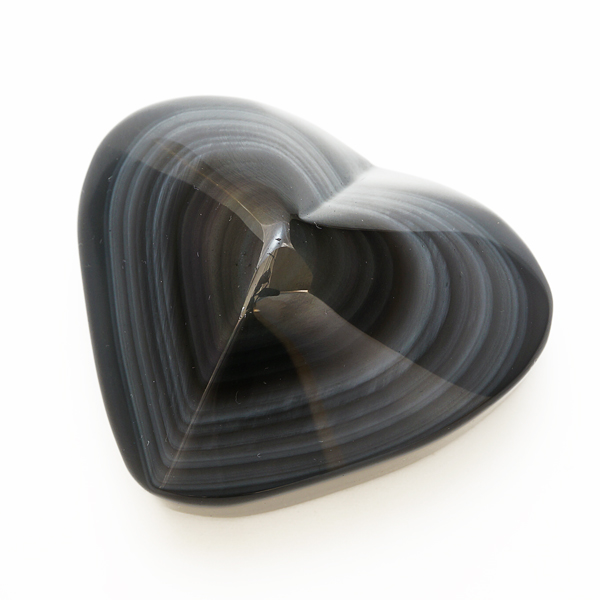 【限定1個】 オブシディアン ハート型 約250g (78mm) 台座付 インテリアストーン 置物 【天然石 パワーストーン】