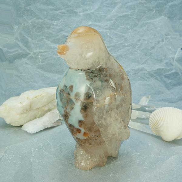 かわいい手彫り彫刻 ペンギンの置物 【重量約1115g、サイズ約W80×D75×H150(mm)】 メノウ(瑪瑙) 水晶 パワーストーン インテリア オブジェ 天然石 【30%OFF】 タイムセール
