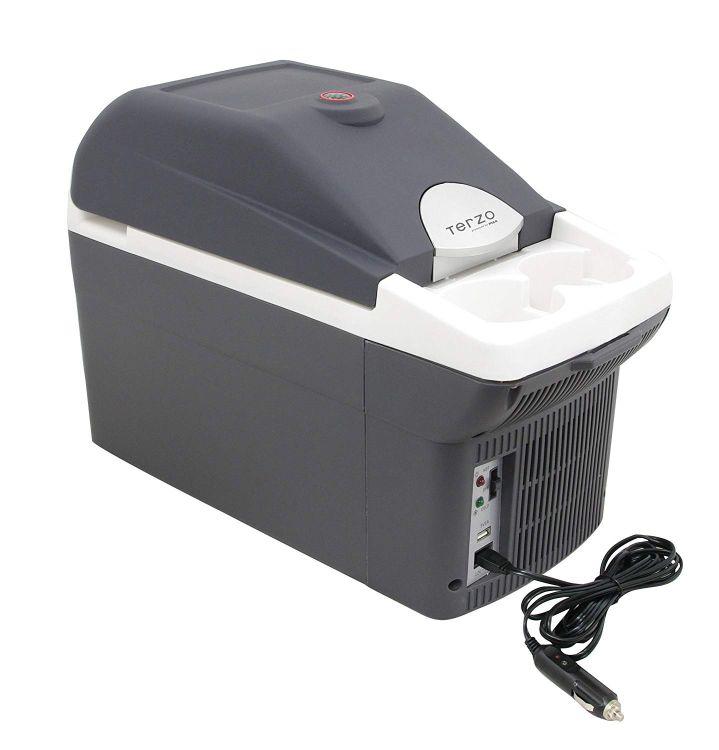 EA-CB3 Terzo 車載温冷庫 8L エクセルクール マルチ ホワイト×ダークグレー USB対応 ドリンクホルダー付 ペルチェ式