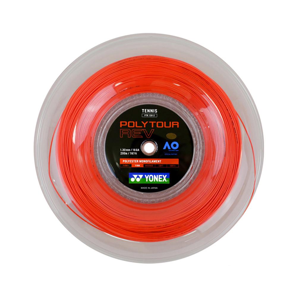 即納 ポイントアップ ヨネックス ポリツアー レブ 1.20 1.25 1.30mm ブライトオレンジ 200Mロール 流行のアイテム POLY YONEX 激安通販 200M REV PTR130-2 ROLL TOUR STRING PTR120-2 PTR125-2