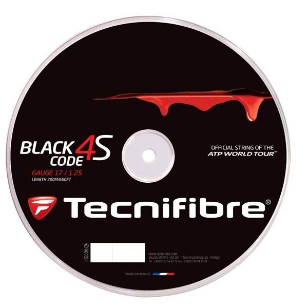 テクニファイバー ブラックコード 4S 200mロール(Tecnifibre BLACKCODE 4S)各ゲージ1.20mm 1.25mm 1.30mm