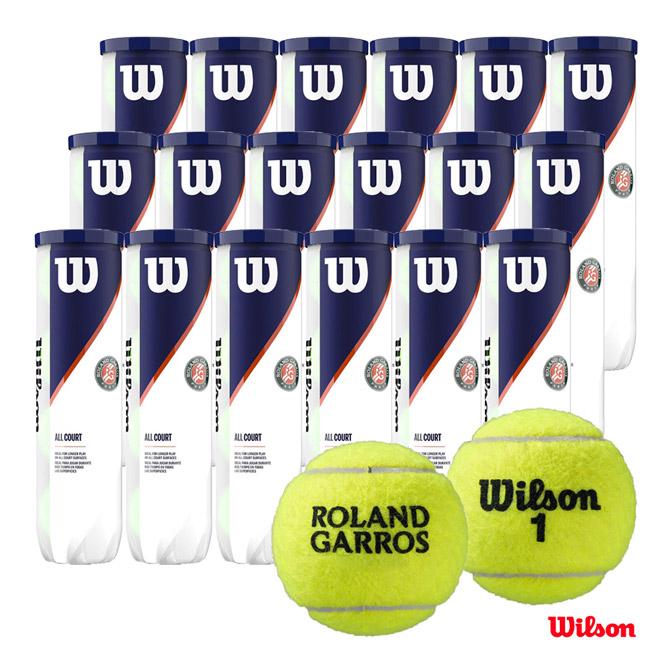 【応援クーポン10%OFF対象商品:9月20日まで】ウイルソン Wilson テニスボール ROLAND GARROS ALL COURT 4 Ball 1箱(18缶/72球) WRT116400