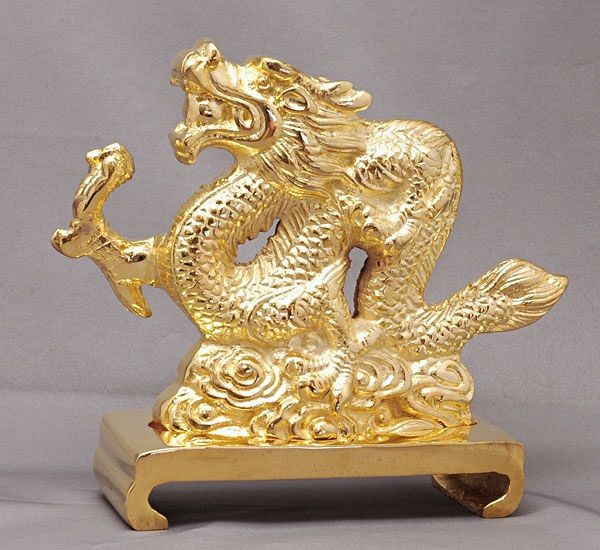 【風水龍】大金龍 銅製(真鍮)金メッキ