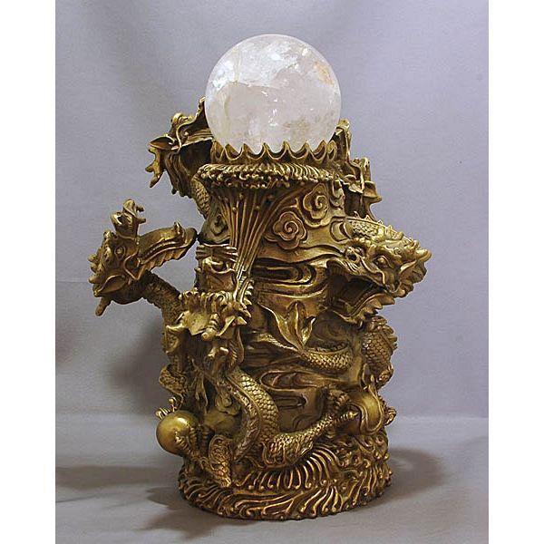 【風水龍】五龍昇運 銅製(真鍮)-天然水晶玉付