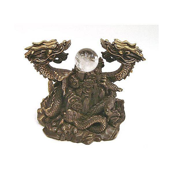 【風水龍】昇り双龍 銅製(真鍮) 小 天然水晶玉付