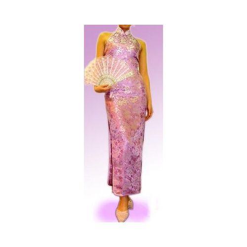 ベアバックロングチャイナドレス(露背大襟型) 小龍柄ライラック色