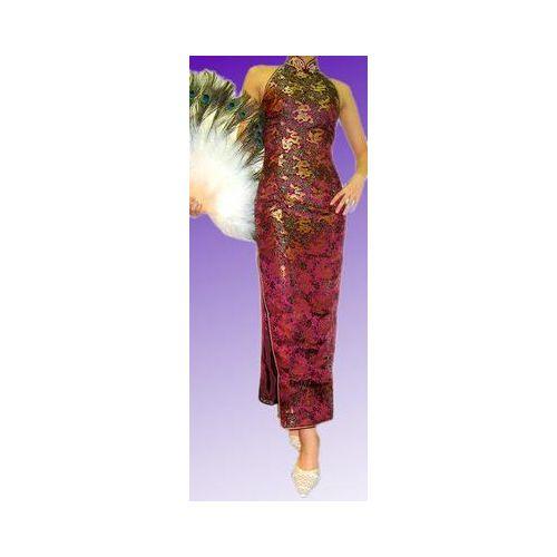ベアバックロングチャイナドレス(露背大襟型) 小龍柄ボルドー色