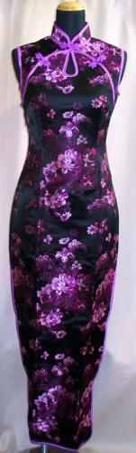 ティアドロップロングドレス(牡丹柄)黒ピンク色