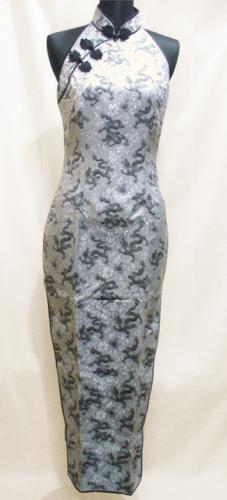 ベアバックロングチャイナドレス(露背大襟型)小龍柄 銀(黒龍)