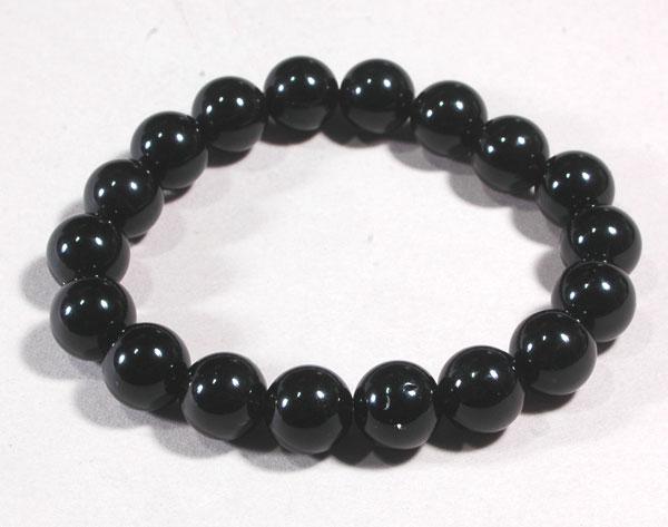 【鉱物】黒水晶(モリオン) ブレスレット10ミリ18玉