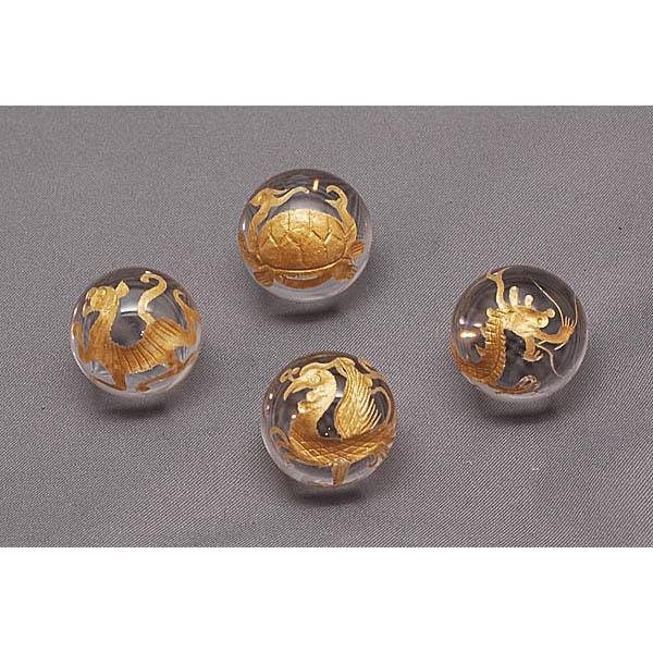 【風水】天然水晶玉四神彫り(4個セット径20ミリ 台付)