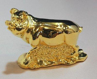 金ブタ 銅製(真鍮) に鍍金