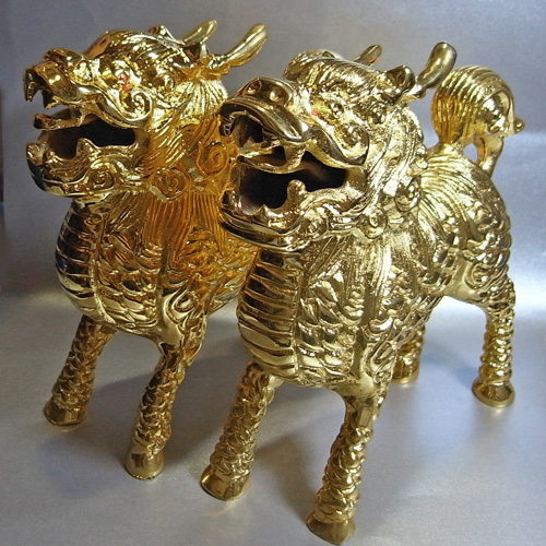 鍍金麒麟 銅製(真鍮) 金メッキ 一対