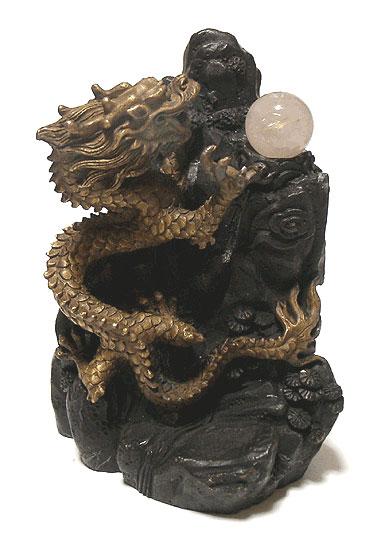山昇龍 銅製 真鍮 燻色 小 金糸水晶玉付