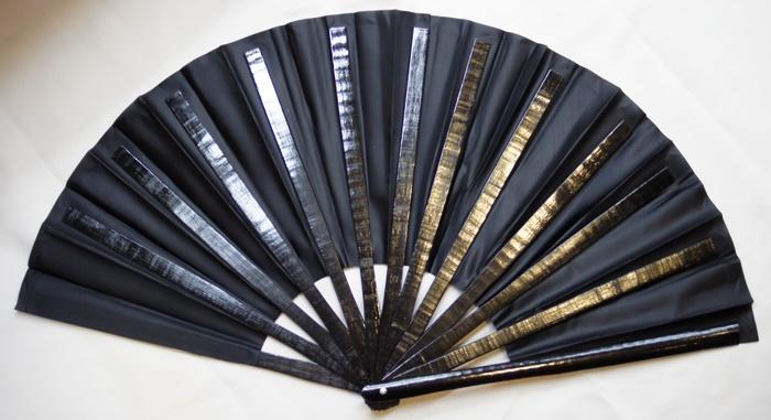 武用 Tai Chi demonstration, Kung Fu Kung Fu fans fans-bamboo-33 cm type cloth  black + bone black solid