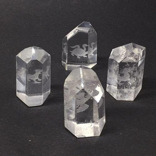 天然水晶ポイント 四神4個セット 現品限り iw180222a05
