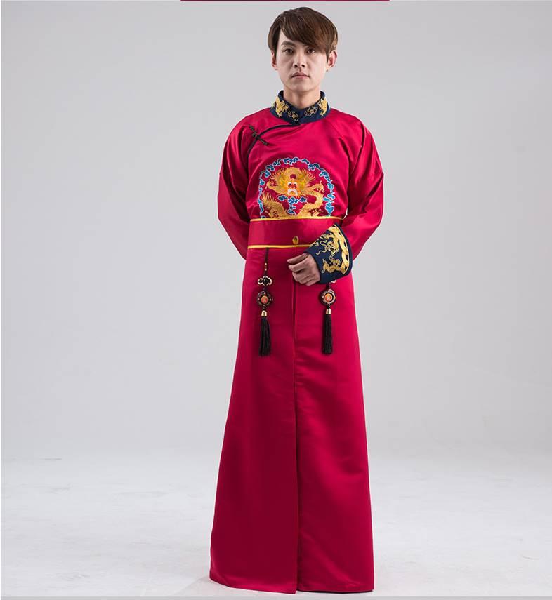 中国清朝服 満州王子服 古装武侠衣装 長袍(チャンパオ) サテン地 酒紅色